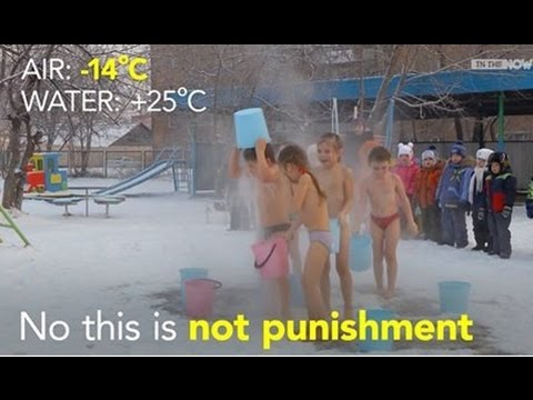 Kids Playing In The Freezing Snow At -14 Degree Celcius